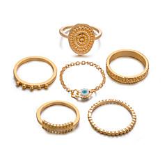 preiswerte Ringe-Damen Retro Knöchel-Ring Ring-Set Multi-Finger-Ring - Harz Sonne, Augen Retro, Punk, Boho 8 Gold / Silber Für Geschenk Alltag Strasse / 5 Stück