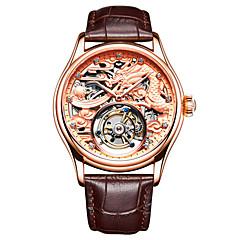 お買い得  メンズ腕時計-Angela Bos 男性用 機械式時計 手巻き式 30 m 耐水 透かし加工 新デザイン 本革 バンド ハンズ ぜいたく ファッション ブラック / ブラウン - ゴールド シルバー ローズゴールド / ステンレス