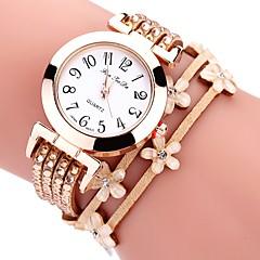 お買い得  レディース腕時計-女性用 リストウォッチ クォーツ 白 / ブルー / レッド カジュアルウォッチ 愛らしいです 模造ダイヤモンド ハンズ レディース 花型 ファッション - ブルー ピンク カーキ色 1年間 電池寿命