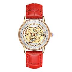 お買い得  レディース腕時計-Angela Bos 女性用 機械式時計 自動巻き 30 m 耐水 透かし加工 カジュアルウォッチ レザー バンド ハンズ 花型 多色 ブラック / 白 / レッド - レッド ピンク ローズゴールド / ステンレス