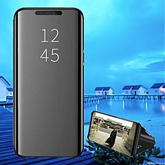 Недорогие Чехлы и кейсы для Xiaomi-Кейс для Назначение Xiaomi Xiaomi Pocophone F1 / Mi 8 со стендом / Покрытие / Зеркальная поверхность Чехол Однотонный Твердый Кожа PU для Xiaomi Pocophone F1 / Xiaomi Mi 8 / Xiaomi Mi 8 SE
