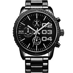 お買い得  メンズ腕時計-Angela Bos 男性用 リストウォッチ クォーツ ブラック / シルバー 30 m 耐水 カレンダー カジュアルウォッチ ハンズ ヴィンテージ ファッション - 白とシルバー ブラック / ブルー ブラック / シルバー 1年間 電池寿命