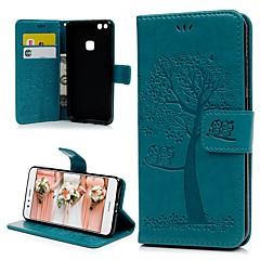 billige Etuier/deksler til Huawei-Etui Til Huawei P10 Lite Kortholder / med stativ / Flipp Heldekkende etui Ugle / Tre Hard TPU til P10 Lite