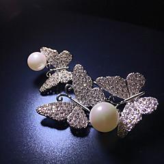 お買い得  ブローチ-女性用 キュービックジルコニア クラシック ブローチ  -  真珠, 銀メッキ バタフライ 韓国語 ブローチ シルバー 用途 日常