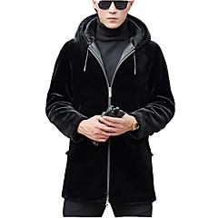hesapli Men's Winter Coats-Erkek Günlük Sokak Şıklığı Normal Kürk Mont, Solid Kapşonlu Uzun Kollu Yünlü Siyah XL / XXL / XXXL