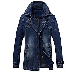 cheap Men's Outerwear-Men's Daily Long Trench Coat, Solid Colored Turndown Long Sleeve Cotton / Polyester / Denim Blue / Black XL / XXL / XXXL