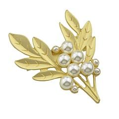 お買い得  ブローチ-女性用 真珠 トロピカル風 ブローチ  -  真珠 リーフ シンプル, ベーシック ブローチ ゴールデン 用途 デート / ワーク
