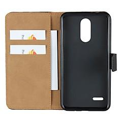 Недорогие Чехлы и кейсы для LG-Кейс для Назначение LG K10 2018 / G7 Кошелек / Бумажник для карт / со стендом Чехол Однотонный Твердый Настоящая кожа для LG X Style / LG V30 / LG V20