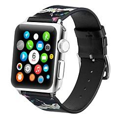 お買い得  腕時計用アクセサリー-本革 時計バンド ストラップ のために Apple Watch Series 4/3/2/1 ブラック / 黄色 23センチメートル / 9インチ 2.1cm / 0.83 Inch