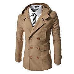 cheap Men's Trench Coat-Men's Daily Basic Regular Trench Coat, Solid Colored Hooded Long Sleeve Polyester Camel / Navy Blue / Khaki L / XL / XXL / Slim