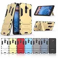 Недорогие Чехлы и кейсы для Nokia-Кейс для Назначение Nokia Nokia 7 Plus Защита от удара / со стендом Кейс на заднюю панель Однотонный Твердый ПК для Nokia 7 Plus