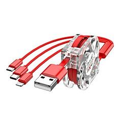 저렴한 USB 케이블-용인 철회 가능한 데이터 라인 번개 / 마이크로 USB 2.0 / usb 3.1 유형 c / 3 충전기 어댑터 케이블 남성 - 남성 1.0m (3ft) iphone / android / type-c 용 10gbps 2.4a 빠른 충전
