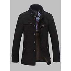 hesapli Men's Winter Coats-Erkek Günlük Normal Kaban, Solid Dik Yaka Uzun Kollu Yünlü / Pamuklu / Polyester Siyah / Koyu Gri XL / XXL / XXXL