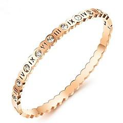 preiswerte Armbänder-Damen Klar Kubikzirkonia Klassisch Armband - Titanstahl Modisch Armbänder Silber / Rotgold Für Verlobung Alltag