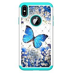 Недорогие Кейсы для iPhone 7 Plus-Кейс для Назначение Apple iPhone XR / iPhone XS Max Стразы / С узором Кейс на заднюю панель Бабочка Твердый Кожа PU для iPhone XS / iPhone XR / iPhone XS Max