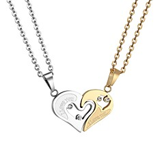 preiswerte Halsketten-Damen Ausgeschnitten Anhängerketten - Edelstahl Herz Romantisch, Modisch Gold, Schwarz 55 cm Modische Halsketten Schmuck 1 set Für Geschenk, Alltag