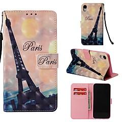 Недорогие Кейсы для iPhone-Кейс для Назначение Apple iPhone XR Кошелек / Бумажник для карт / Флип Чехол Эйфелева башня Твердый Кожа PU для iPhone XR