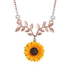 preiswerte Halsketten-Damen Klassisch Anhängerketten - Künstliche Perle Blattform, Bühnenlicht vielfarbig Einfach, Romantisch, Modisch Niedlich, lieblich Gold, Silber, Rotgold 48 cm Modische Halsketten Schmuck 1pc Für