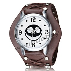 preiswerte Digitaluhren-Herrn Armband-Uhr digital Armbanduhren für den Alltag Cool Leder Band Analog-Digital Retro Freizeit Schwarz / Weiß / Braun - Weiß Schwarz Braun