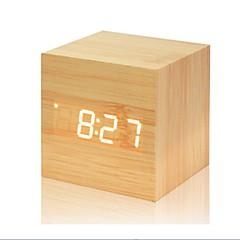 お買い得  クロック-多色のサウンドコントロール木製の時計新しいモダンな木製のデジタルledデスクの目覚まし時計温度計のタイマーのカレンダーのテーブルの装飾