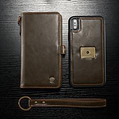 Недорогие Кейсы для iPhone-CaseMe Кейс для Назначение Apple iPhone XS Max Кошелек / Бумажник для карт / Флип Чехол Однотонный Твердый Кожа PU для iPhone XS Max