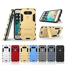 Недорогие Чехлы и кейсы для LG-Кейс для Назначение LG LG V20 MINI Защита от удара / со стендом Кейс на заднюю панель Однотонный / броня Твердый ПК для LG V20 MINI