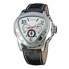 お買い得  メンズ腕時計-男性用 ドレスウォッチ クォーツ カレンダー 夜光計 レザー バンド ハンズ カジュアル ファッション ブラック / ブラウン - ブラック イエロー レッド