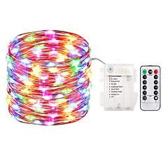 お買い得  LED ストリングライト-zdm 1pc 10m 100 led妖精のライト電池操作の文字列のライト防水8モード妖精の文字列のライトとリモートとタイマーのホタルのライトとクリスマスデコレーションのクリスマスライトマルチカラー