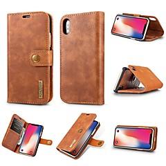 Недорогие Кейсы для iPhone-Кейс для Назначение Apple iPhone XR / iPhone XS Max Бумажник для карт / Защита от удара / со стендом Чехол Однотонный Твердый Настоящая кожа для iPhone XS / iPhone XR / iPhone XS Max