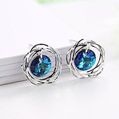 preiswerte Ohrringe-Damen Rund Ohrstecker - versilbert Diamantimitate Mehrfarbig Schmuck Silber Für Hochzeit Party Geschenk 1 Paar