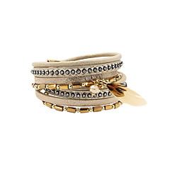 preiswerte Armbänder-Damen Mehrschichtig Lederarmbänder - Boho Armbänder Schmuck Grau / Hellgelb Für Geschenk Alltag