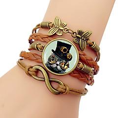 preiswerte Armbänder-Damen Klassisch loom-Armband - Katze Retro, Steampunk Armbänder Schmuck Braun / Blau / Rosa Für Alltag Ausgehen