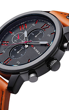 cheap -Men's Wrist Watch Aviation Watch Quartz Leather Black / Brown Casual Watch / Analog Charm Classic Fashion - Orange Brown Blue One Year Battery Life / Stainless Steel / Jinli 377