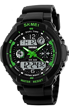 cheap -SKMEI Men's Sport Watch Military Watch Wrist Watch Quartz Rubber Black 30 m Water Resistant / Waterproof Alarm Calendar / date / day Analog - Digital Black / Green Black / Blue Black / Yellow Two