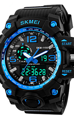 cheap -SKMEI Men's Sport Watch / Fashion Watch / Military Watch Japanese Alarm / Calendar / date / day / Chronograph PU Band Black / Water Resistant / Water Proof / LED / Dual Time Zones / Stopwatch