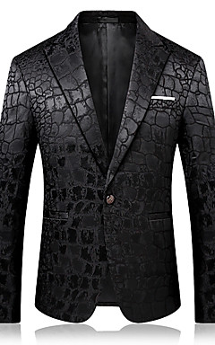 cheap -Men's Party / Daily / Holiday Sophisticated Spring &  Fall / Fall / Winter Regular Blazer, Solid Colored Notch Lapel Long Sleeve Cotton / Polyester Black / Business Casual