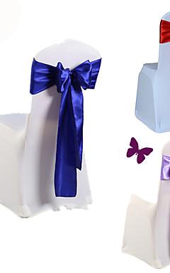 رخيصةأون -10 قطعة / المجموعة زفاف كرسي غطاء وشاح القوس التعادل الشريط الديكور لوازم الزفاف