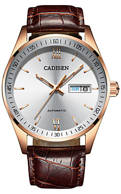 cheap -CADISEN Men's Casual Watch Fashion Watch Japanese Automatic self-winding Leather Brown 50 m Water Resistant / Waterproof Calendar / date / day Noctilucent Analog Fashion - White / Brown Two Years