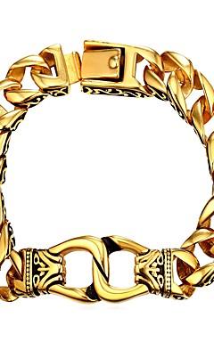 رخيصةأون -رجالي أساور السلسلة والوصلة سلسلة سميكة موضة الفولاذ المقاوم للصدأ مجوهرات سوار ذهبي / فضي من أجل هدية مناسب للبس اليومي