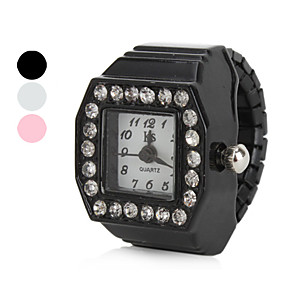 billige Ringeklokker-Dame Ringur Diamond Watch Square Watch Japansk Quartz Sort / Hvid / Pink Imiteret Diamant Damer Glitrende - Hvid Sort Lys pink Et år Batteri Levetid / SSUO SR626SW
