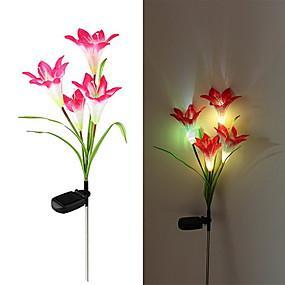 billige Pathway Lights-1pc solenergi lilje blomst ledet lys haven gård græsplæne lampe