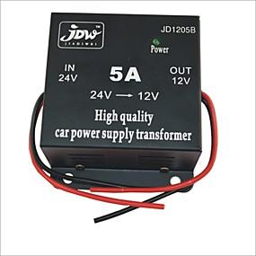 voordelige Autoladers-jd1205 5a auto omvormer dc 24v naar 12v auto omvormer met 4 usb laadpoorten power converter