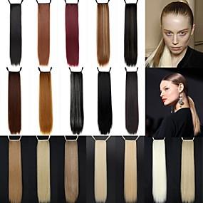 זול איפור וטיפול בציפורניים-קוקו חתיכת שיער ישר קלאסי שיער סינטטי 24 אינץ' ארוך הַאֲרָכַת שֵׂעָר יומי
