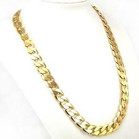 ieftine -70% & Peste-Bărbați Link cubanez Lănțișoare Placat Auriu Personalizat Clasic Modă Șic Stradă Auriu Coliere Bijuterii 1 buc Pentru Zilnic Casual Sport aleasă a inimii