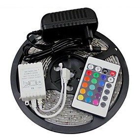 ieftine Benzi Lumină LED-zdm 5m 300 x 2835 benzi led 8mm rgb flexibile și telecomandă ir 24key cu putere euus12v2a ac100-240v