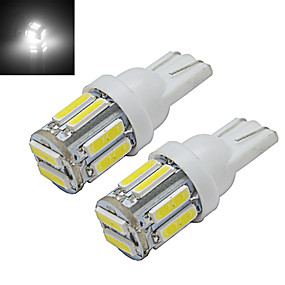 Недорогие Прочие светодиодные лампы-2 шт. 1 Вт T10 светодиодные w5w автомобиль лампы клин карта свет лампы 10 светодиодов smd 7020 холодный белый dc 12 В