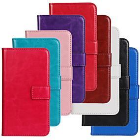 Недорогие Чехлы и кейсы для Galaxy S5 Mini-Кейс для Назначение SSamsung Galaxy S5 Mini Кошелек / Бумажник для карт / со стендом Чехол Однотонный Кожа PU