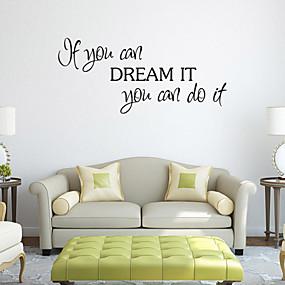 halpa Sisustustarrat-Sarjakuva Words & Quotes Wall Tarrat Lentokone-seinätarrat Koriste-seinätarrat, PVC Kodinsisustus Seinätarra Seinä