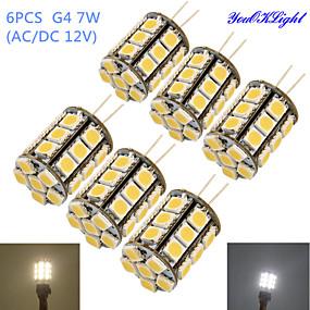 abordables Luces LED de Doble Pin-YouOKLight 6pcs 4 W Bombillas LED de Mazorca 250-300 lm G4 T 27 Cuentas LED SMD 5050 Decorativa Blanco Cálido Blanco Fresco 12 V / 6 piezas / Cañas