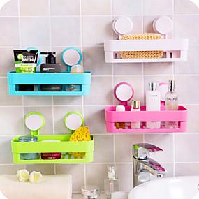 economico Gadget per il bagno-1pc cucina bagno mensola a muro con 2 ventose di plastica doccia caddy portaoggetti organizzatore vassoio con ventose lozione di stoccaggio